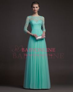Free Shipping Turquoise Tulle Sexy Long Lace Decorated Evening Dress With Sleeves Formal Prom Dress 2014 New Arrival RS9632 $159.00