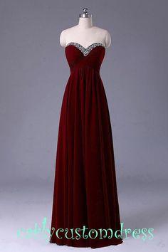 Long Red Prom Dress/Long Beaded Bridesmaid Dress/Red Grey Black Chiffon Evening Dress/Homecoming Dress/Graduation Dress/Formal Dress