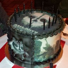 """Uploaded by Marcia Dexter at www.inkedibles.com photo contest for edible ink projects made with Inkedibles supplies.  """"I made this cake for my son who became a teen. It was wrapped around frosted edible sheets and the images are of Call of Duty Ghost using the edible printer and frosted sheets my husband bought from inkedibles."""""""