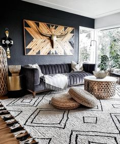 25 Stylish Living Room Decor Ideas For Any Budget – BuzzKee African Living Rooms, Big Living Rooms, Boho Living Room, Home And Living, Living Room Decor, Stylish Living Rooms, Bohemian Room, Bohemian Decor, Modern Living