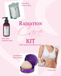 Radiation Care Kit from Compassionate Beauty. Lindi Skin cooler roll for relief from hot flushes, soothing balm to heal and moisturize. 100% cotton bra and a lightweight breast form to give you shape.