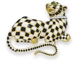 A DIAMOND, EMERALD AND ENAMEL PANTHER BROOCH, BY DAVID WEBB