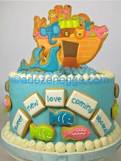 very cute baby shower cake made with cookies