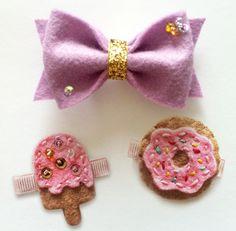 Doughnut and Ice cream Hair Clips. Purple Felt Sparkle Bow. So cute. MeOhMine Bows via Etsy