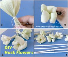 How To Make Corn Husk Flowers Bouquet for Fall.flower making ideas & tutorials for home decore. Faux Flowers, Diy Flowers, Paper Flowers, Flower Bouquets, Fall Crafts, Diy And Crafts, Corn Husk Wreath, Corn Husk Crafts, How To Make Corn