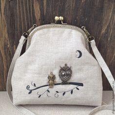 """Купить Сумка """"Совушки"""" на фермуаре, льняная сумка - серый, рисунок, сумка ручной работы, Сумки"""