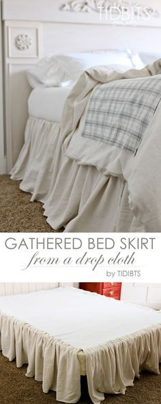 Gathered Bed Skirt made from a drop cloth or any fabric of choice. Time saving gathering technique included in tutorial. - by TIDBITS Design skirt DIY Gathered Bed skirt Home Bedroom, Bedroom Decor, Bedrooms, Master Bedroom, Drop Cloth Projects, Camas King, Drop Cloth Curtains, Drop Cloth Slipcover, My New Room