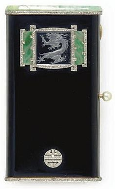AN ART DECO MULTI-GEM, DIAMOND AND GOLD VANITY CASE, BY LACLOCHE