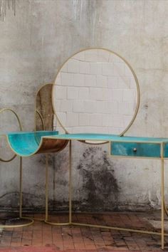 This bespoke dressing table has an elegant and playful form featuring a square brass galvanized steel rod frame, that contrasts with the fresh blue of the verdigris patinated copper surface, sides, and drawer. The inspiring design plays with circles and straight lines to create a piece that is delicate, light but complex. Dressing Table Inspiration, Luxury Furniture Brands, Luxury Closet, Steel Rod, Straight Lines, Walk In Closet, Galvanized Steel, Bathroom Sets, Walnut Wood