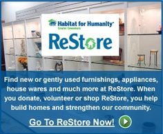 ReStore! Can't wait to go here and see what treasures we find to fix up my grandpa's house!!!