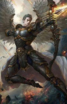 Zechariah, angel warrior that will fight the horsemen of the apocalypse. Fantasy Warrior, Angel Warrior, Fantasy Male, Dark Fantasy, Male Angels, Angels And Demons, Character Inspiration, Character Art, Character Design