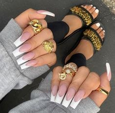 28 Casual Acrylic Nail Art Designs Ideas To Fascinate Your Admirers : Page 3 of 28 : Creative Vision Design French Tip Acrylic Nails, Square Acrylic Nails, Best Acrylic Nails, Square Nails, Acrylic Nail Designs, Long French Tip Nails, Manicure, Aycrlic Nails, Glam Nails