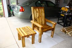 This chair and small table are made out of landscape timbers.