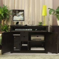 Love this Ash Dark Wood Hidden Computer Desk