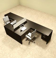 Two Person L Shaped Divider Office Workstation Desk Set, #OT-SUL-FP40 - H2O Furniture