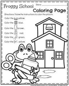Folhas de trabalho pré-escolar - Página de coloração da escola Froggy.