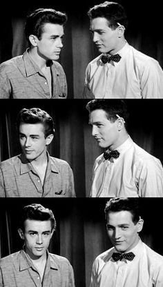 James Dean and Paul Newman in a screen test for East of Eden. Newman was auditioning for the role of Aron   http://www.youtube.com/watch?v=U1sLlcarbu4