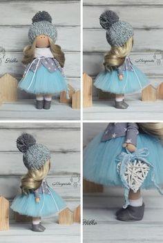 Winter doll handmade blue blonde colors by AnnKirillartPlace