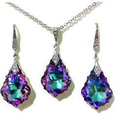 Purple Blue Teal Art Deco Jewelry Set, Light Vitrail Swarovski Crystal... ($65) ❤ liked on Polyvore featuring jewelry, earrings, necklaces, purple bridal jewelry sets, purple earrings, teal blue earrings, crystal bridal jewelry sets and teal earrings