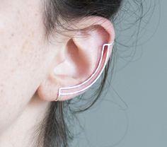Sterling Silver Ear Cuff. Minimalist Earring. Hammered