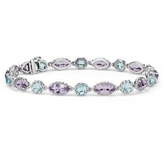 Blue Nile Blue Topaz and Amethyst Bracelet ($1,625) ❤ liked on Polyvore featuring jewelry, bracelets, accessories, colorful jewelry, 14 karat gold bracelet, multi colored bracelet, blue nile and tri color bracelet