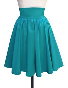 The Trashy Diva Gathered Mini Skirt in Teal Poplin is a perfect summer skirt!