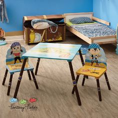 Fantasy Fields Hand Crafted & Painted Kids Wooden Table and 2 Chairs Set
