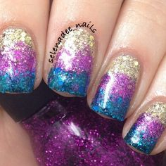 These are glitter block gradient nails
