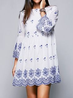 Ethnic Style Round Neck Flare Sleeve High Waisted Retro Embroidery Dress For Women Vintage Embroidery, Embroidery Dress, Style Ethnique, Ethnic Fashion, Pretty Dresses, Dress To Impress, Casual Dresses, White Dress, Cute Outfits