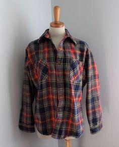 eec3a7a8609 Vtg 80s Big Mac plaid red blue lumberjack Flannel Shirt Men S punk grunge  F4