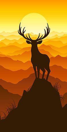 Deer Buck on top of Mountain with sunset Light Weight (1x4) Regulation Size Custom Cornhole Board Game Set - Corn Hole - Bag Toss