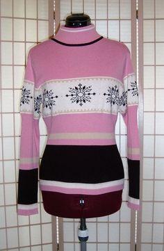 IZOD Sz M Women's Pink & Black Rib Knit Snowflake Design Turtleneck Pullover Top #IZOD #TurtleneckMock