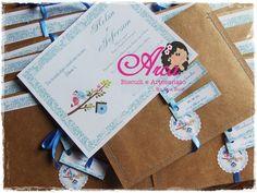 Convite de casamento - azul Papel craft e vege 180g Pedido minimo: 50 unidades