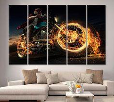 5 Piece Home Decor Canvas Print Motorcycle Racing Biker Wall Art Motor Bike Road