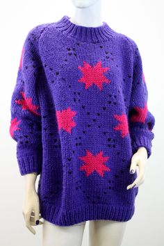 Vintage Woman's Bright Pink and Purple Abstract Design by ELOFSON, $32.00