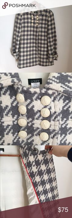 J Crew houndstooth coat Size 2 but can fit a 4, runs like an XS/S. VGUC due to some slight piling that could be removed. J. Crew Jackets & Coats Pea Coats