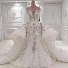 2016 Vestidos De Novia Sweetheart Luxury Beaded Crystal Mermaid Wedding Dresses Detachable Train Sequined Lace Bridal Gowns