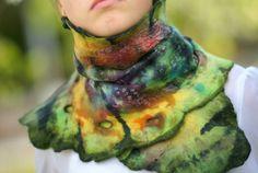 Nuno Felted Scarf  Wool and Silk Shawl Multicolor Aligator.