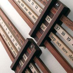 Perpetual Calendar  Design Enzo Mari, 1959  Walnut, ramin, beech & maple  Made in Italy by Danese