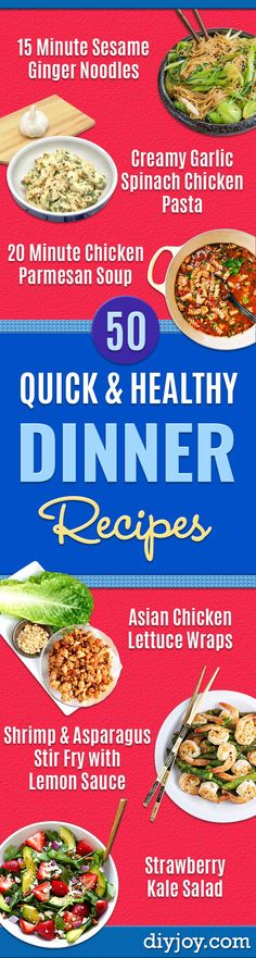 Quick and Healthy Dinner Recipes - Easy and Fast Recipe Ideas for Dinners at Home - Chicken, Beef, Ground Meat, Pasta and Vegetarian Options - Cheap Dinner Ideas for Family, for Two , for Last Minute Cooking http://diyjoy.com/quick-healthy-dinner-recipes