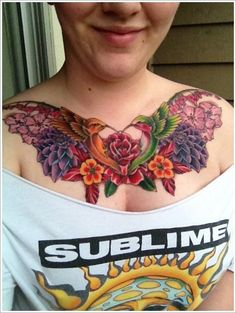 Chest watercolor tattoo of flower and hummingbird - feather, leaves, peony
