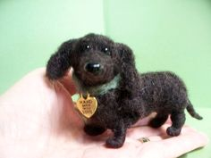 Dachshund Felted Dog Sculpture by WhimsicalWoolies on Etsy https://www.etsy.com/listing/101892603/dachshund-felted-dog-sculpture