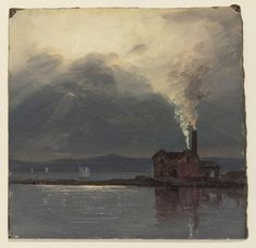 Square view of the river and a factory which stands on a spit of land at right, and whose smoke billows from its chimney and blows toward the moonlit sky, as  sailboats sail in the left middleground and low hills are seen in the right background.