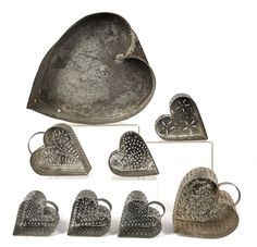 Seven tin heart shaped cheese strainers, and a large tin mold with FACES formed on the minerals attached to the bottom. I Love Heart, With All My Heart, Happy Heart, My Funny Valentine, Valentines, Vintage Tins, Vintage Baking, Vintage Metal, Vintage Kitchen