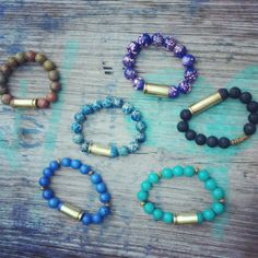 Bead bracelet with bullet shell casing by BangBangJewels on Etsy