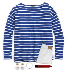 """Stripes"" by wintema ❤ liked on Polyvore featuring J.Crew, Abercrombie & Fitch, NYX and Converse"