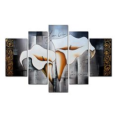 FLY SPRAY 5-Piece 100% Hand Painted Oil Paintings Panel Stretched Framed Ready Hang Elegant Flower White Lilies Modern Abstract Painting Canvas Living Room Bedroom Office Wall Art Home Decoration -- You can get more details by clicking on the image.
