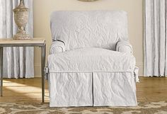 Matelasse Damask t-cushion One Piece Slipcovers  Chair White sure fit #SureFit #FrenchCountry