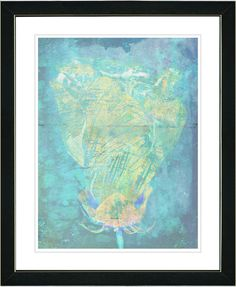 Blue Dansing Bud - Turquoise by Zhee Singer Framed Fine Art Giclee Painting Print
