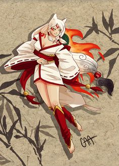 Amaterasu from Okami in human form. Blame my sister for playing Okami yesterday. Japanese Mythology, Fox Girl, Amaterasu, Anime Wolf, Fantasy, Inuyasha, Manga Girl, Game Art, Videogames